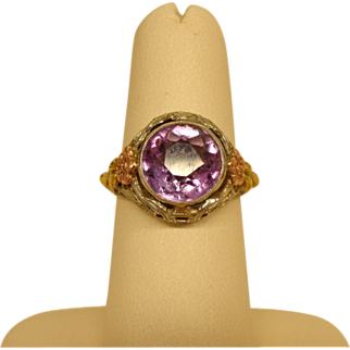 14k White Gold Amethyst Filigree Ring with Colored Gold Accents