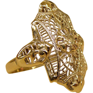 Beautiful Heavy Fine Filigree Diamond Ring