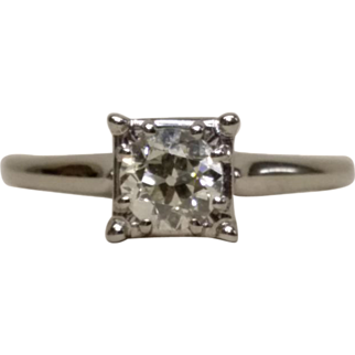 .50ct European Cut Round Diamond Solitaire Engagement Ring