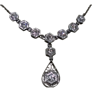 Ladies Teardrop Platinum and Diamond Deco Necklace