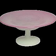 Steuben Glass, Rosaline + Alabaster Compote, Very Nice