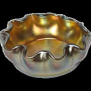 L.C.T. Tiffany Gold Favrile Ruffled Salt, Excellent Color, Iridescence
