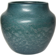 Hampshire Pottery, Large Frothy Matte Blue Squat Vase, Great Glaze