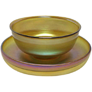 Tiffany Gold Favrile, Dessert Bowl and Under Plate, Excellent