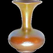 Durand Art Glass, Bulbous Trumpet Vase, Gold Orange Glow, Nice Shape