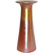 Durand Art Glass, Gold Orange Glow Art Deco Bud Vase, Great Shape