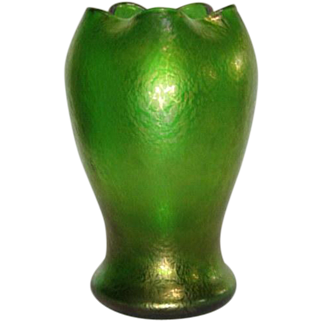 Loetz, Creta Papillon Swollen Flower Form Vase, Nice Iridescence