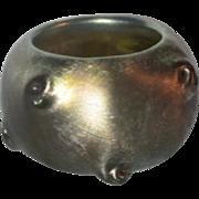 L.C.T. Tiffany Gold Favrile Victoria Salt, Pigtail Prunts, Nice Color