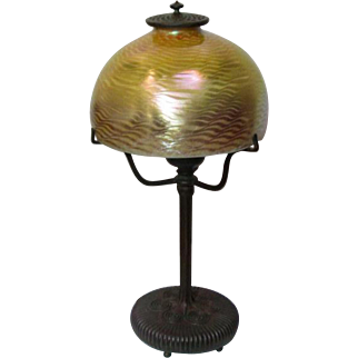 "Tiffany Studios, Decorated Boudoir Table Lamp w Original 7"" Gold Damascene Shade~~~"