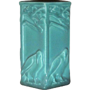 Rookwood Pottery, Arts & Crafts 5 Sided Rooks Vase, Jade Green, Perfect