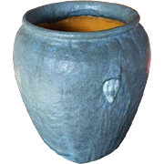 Grueby Pottery, Blue Gray Oatmeal Glazed Vase, Arts and Crafts Floral Design, Nice