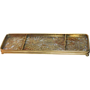 Tiffany Studios, Pine Needle Pen Tray, Gold Patina, Honey Beige Opalescent Glass