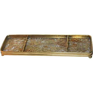 Tiffany Studios, Pine Needle Pen Tray, Gold Patina, Honey Beige Opalescent Glass