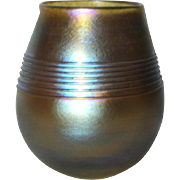 Tiffany Gold LCT Favrile Threaded Vase, Nice Platinum Blue on Gold Iridescence