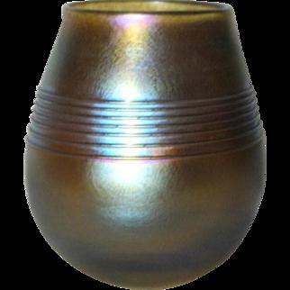 Tiffany Gold LCT Favrile Threaded Vase, Nice Platinum Blue on Gold Iridescence