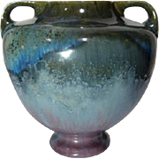Fulper Pottery, Rose Famille w Blue Crystalline Glaze, Large Footed Handled Vase
