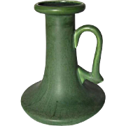 Hampshire Pottery, Matte Green Arts & Crafts Tall Chamber Stick, Great Form