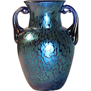 Loetz, Blue Papillon Double Handled Vase, Outstanding Color, Decoration, Nice