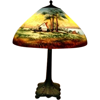 Original Signed Jefferson Reverse Painted Scenic Table Lamp, Very Early Base