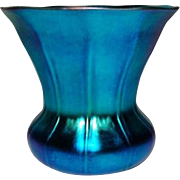 Steuben, Blue Aurene Ribbed Flaring Shade Vase, Outstanding Color, Iridescence
