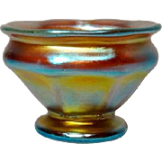 LCT Tiffany Gold Favrile Footed Ribbed Pedestal Salt, Outstanding Iridescence