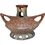 Roseville Pottery, Ferella Brown Reticulated Vase, Great Form Excellent Condition