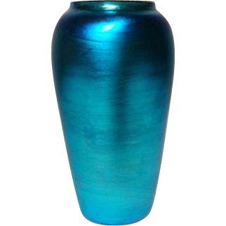 Durand Art Glass, Blue Iridescent Cabinet Vase Shoulder, Brilliant Iridescence