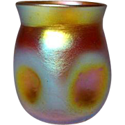 LCT, Tiffany Gold Favrile Cordial, Thumbprint, Dimple Vase, Great Iridescence