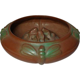 Van Briggle Pottery, Dragonfly Planter w Frog Flower Frog, Mountain Craig Brown