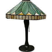 J.A. Whaley Leaded Glass Overlapping Leaves Table Lamp, Early Model