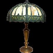 Wilkinson Panel Overlay Lamp, Very LG Shade & Tall Base, Art Nouveau, Victorian