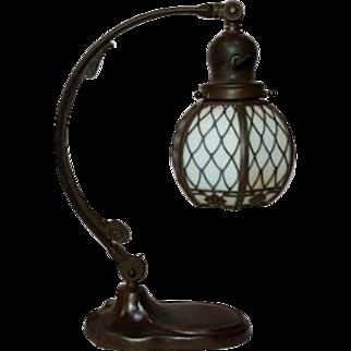 Handel Adjustable Piano Table Lamp w Handel Arts & Crafts Overlay Shade, Nice