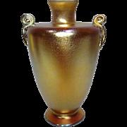 Beautiful Tiffany Gold Favrile Scroll Handled Cabinet Vase, Great Iridescence