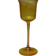 LCT, Tiffany Gold Favrile Footed Stemmed Cordial, Very Delicate