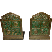 Tiffany Studios, Rare Acid Etched Green Polychrome Bookmark Bookends, Nice