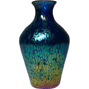 Loetz, Blue Papillon (Butterfly) Tapered Cabinet Shoulder Vase, Great Color