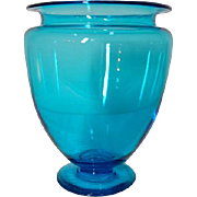 Steuben, Celeste Blue Greek Urn Footed Vase, Beautiful Glass