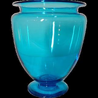 Steuben, Celeste Blue Greek Urn Footed Vase, Beautiful Glass