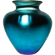 Steuben, Blue Aurene, Tapered Magnum Size, Beautiful Blue Iridescence