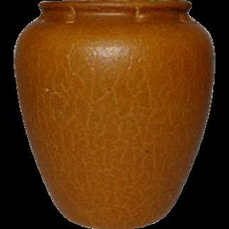 Grueby Pottery, Tapered Swollen Vase, Ochre Curdled, Crackled Glaze, Excellent