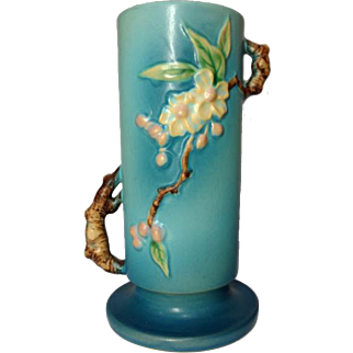 Roseville Pottery, Apple Blossom Large Blue twig Handled Vase, Excellent
