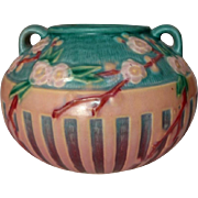 Roseville Pottery, Cherry Blossom Jardiniere, Pink, Teal, Quite Lovely