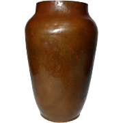 Dirk Van Erp, Hammered Copper Tapered Shoulder Vase, Early, Nice