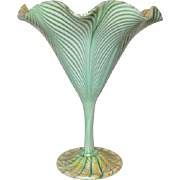 Quezal, Gold Zipper on Green Pulled Feather Large Floriform Vase, Very Nice