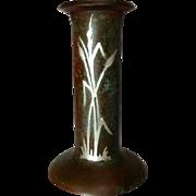 Heintz, Silver Overlay, Cattails, Bronze Candlestick, Nice