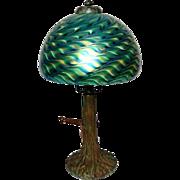 "8"" Green Damascene Style Shade on a Bronze Handel Style Tree Base, Very Nice"