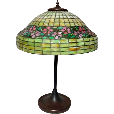 """Unique Leaded Glass 16"""" Periwinkle Table Lamp, Deep Skirted Border, Very Early"""