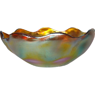 Tiffany Gold Favrile Ruffled Bowl, Great Iridescence, Queen Pattern Excellent