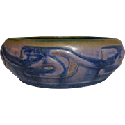 Fulper Pottery, Vasekraft Era Small Low Bowl Planter, Great Wistaria Mix Glaze