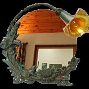 Bronze Art Nouveau Frog Mirror, Accent Desk, Bureau, Table Lamp, Calla Lily Shade